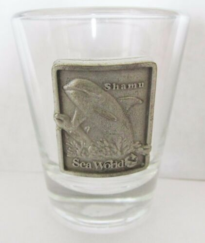 """SHAMU"" SEA WORLD PEWTER EMBLEM SHORT SHOT GLASS"