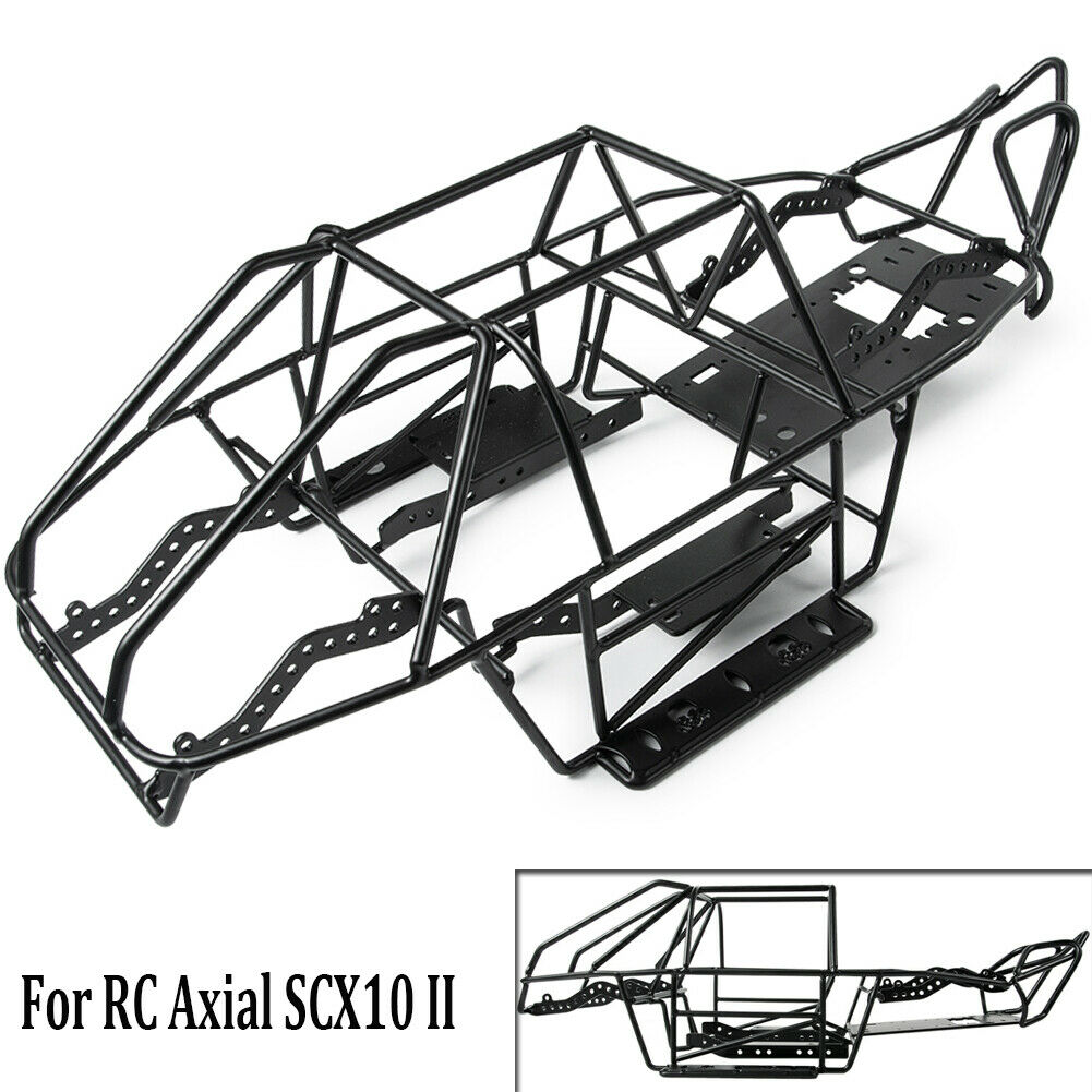 Steel Frame Body Roll Cage w  Receiver Box for SCX10 II AX90046 1 10 RC Crawler