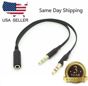 3-5mm-Audio-Mic-Y-Splitter-Kabel-Kopfhoerer-Adapter-Buchse-auf-2-Stecker-USA-Schiff