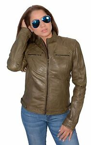 W Jacket Ladies Lightweight Olive Racing Leather Green Rivets Lambskin wYxwr0H