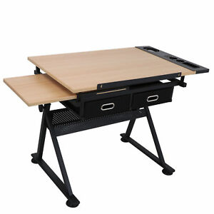 Adjustable Drafting Table W/ Stool 9 Levels of Angle & 6 Levels of Height EZ Set