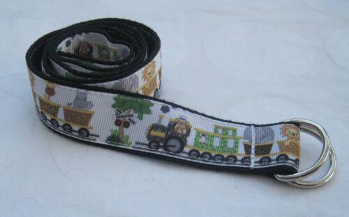 Jungle Childrens belt handmade adjustable kids d ring lion elephant zebra