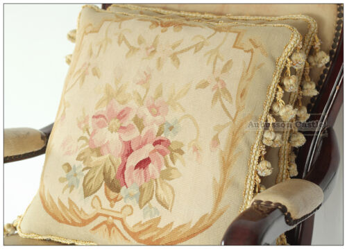 """A PAIR 16/"""" WOOL Aubusson Pillow PASTEL GOLD PINK CREAM Wool French Cushion Cover"""