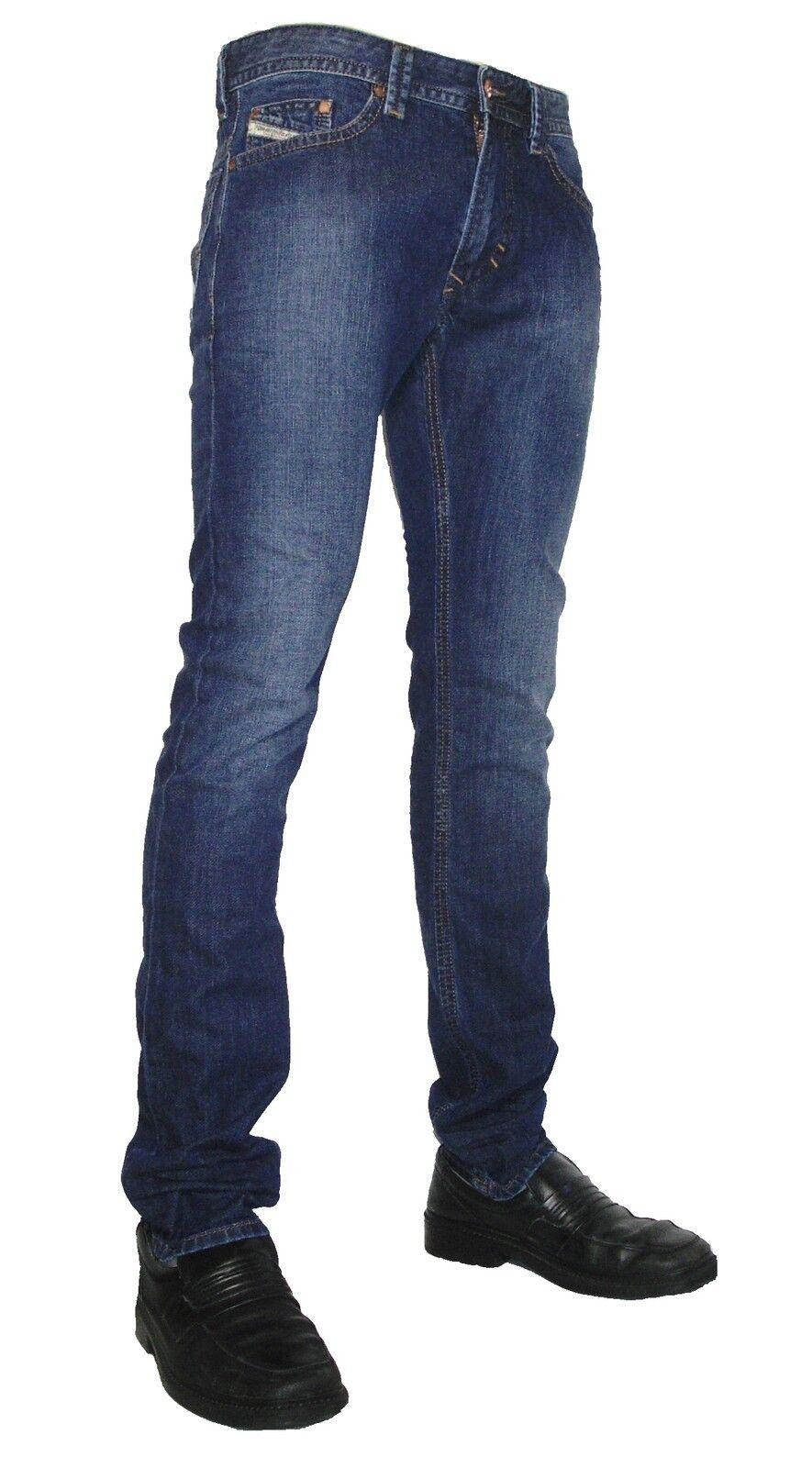 DIESEL jeans uomo THAVAR 0855l  slim-skinny  Blu Colorei attenuati NUOVO