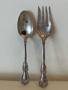 Antique Sterling Silver Hallmarked Serving Spoon and Fork 119 Grams