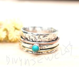 Turquoise-Solid-925-Sterling-Silver-Spinner-Ring-Meditation-Band-Ring-Size-sr525
