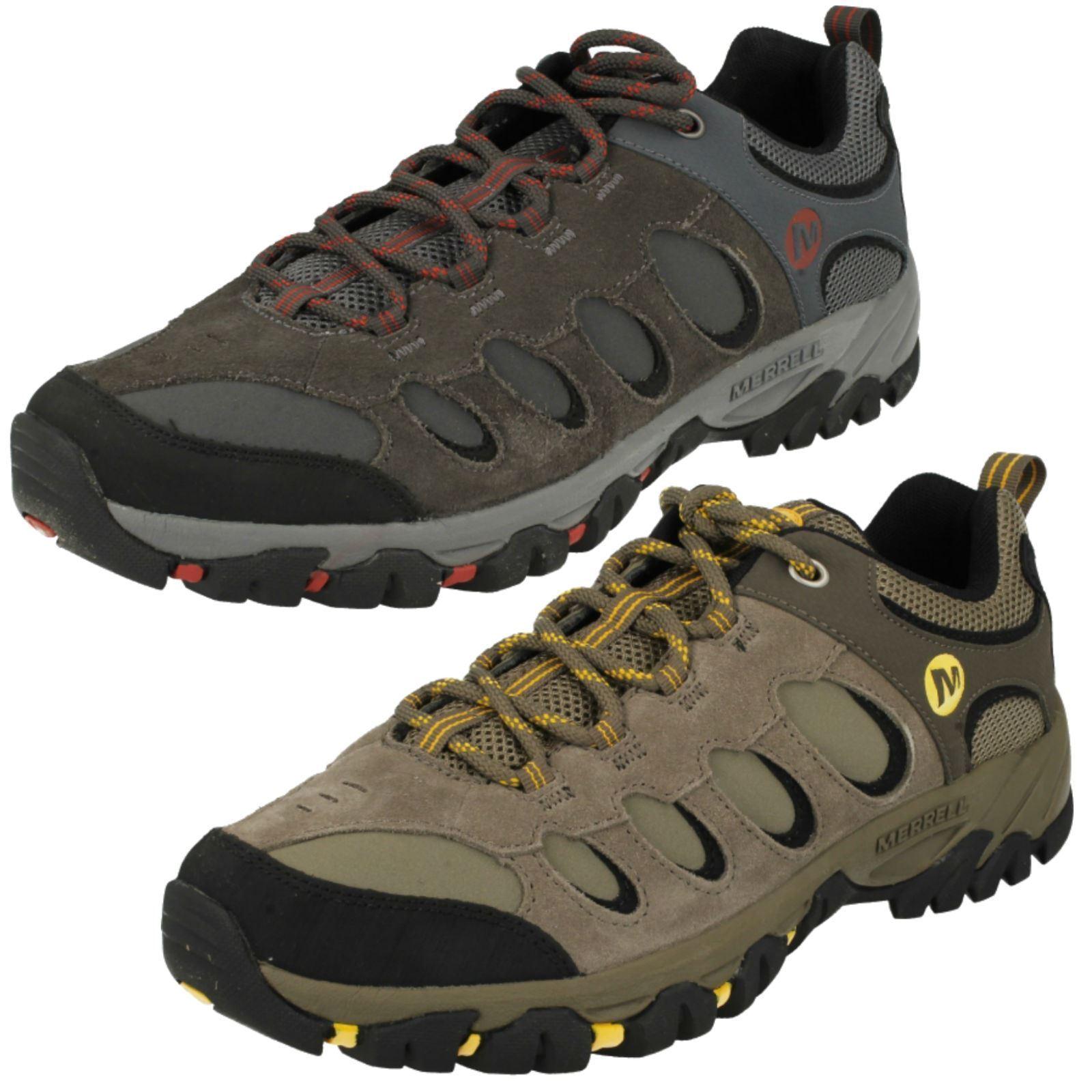 Para HOMBRE MERRELL ridgepass Perno De Cuero Con Cordones Caminar Senderismo Zapatillas Zapatos