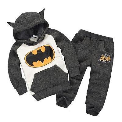 Popular Baby Kids Boys Children 3D Batman Top Hoodie Sweatshirt Suit Outfits Set