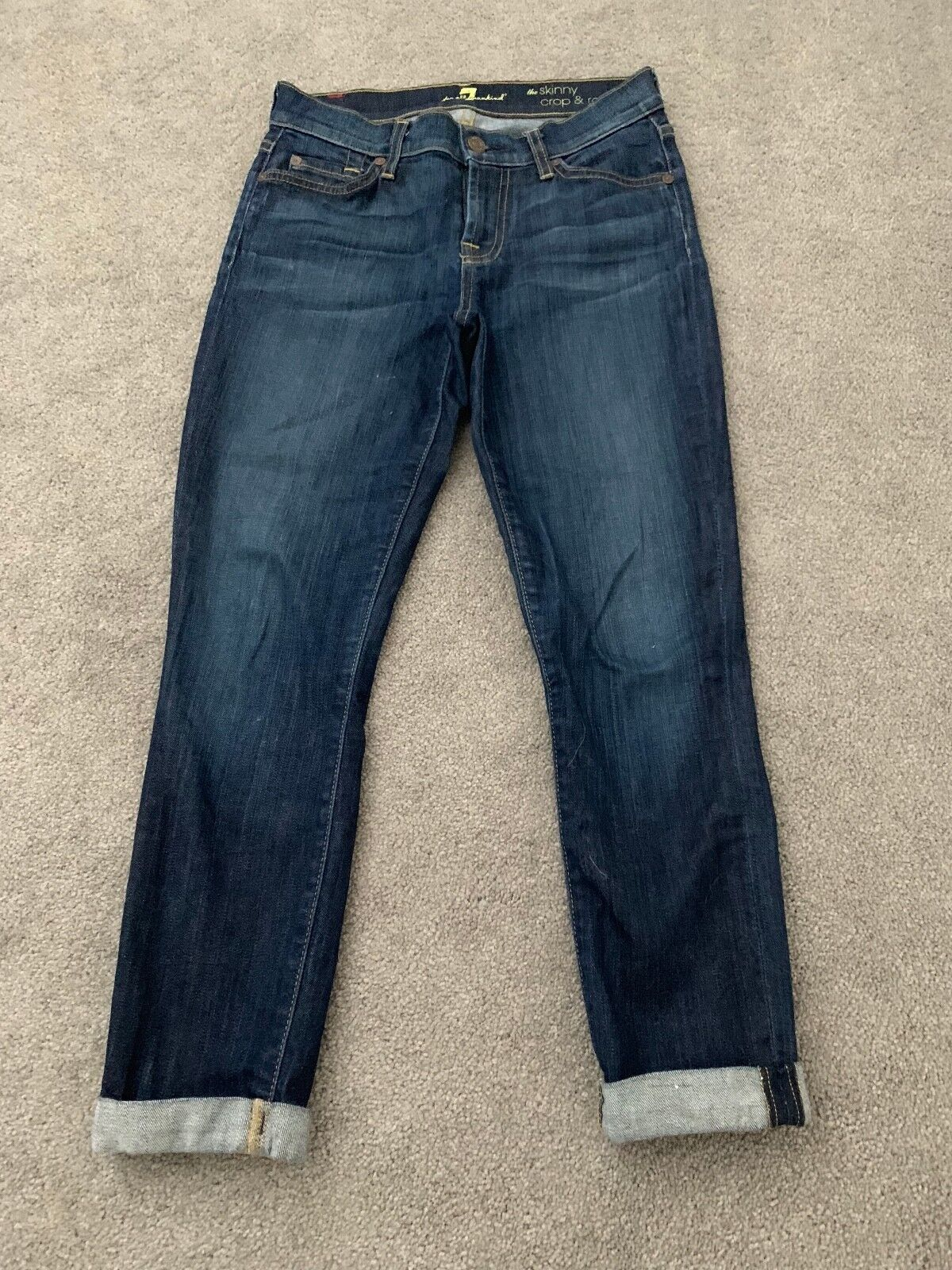 7 For All Mankind The Skinny Crop And Roll Jeans Dark Denim 25