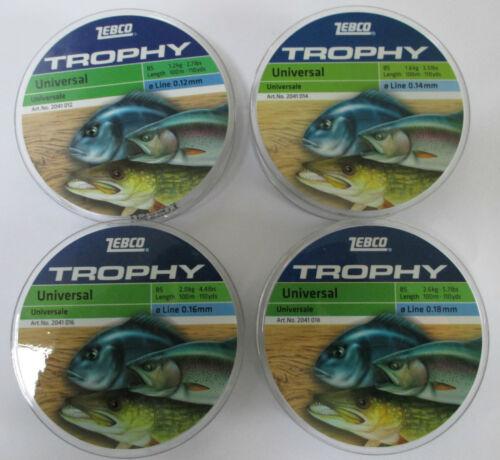 Zebco trophy universal monofilament ligne de différentes tailles