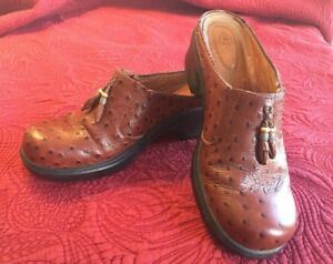 Ariat-Brown-Leather-Ostrich-Type-Slip-Ons-Mules-Clogs-Women-039-s-Sz-10B-93817-EUC