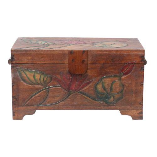 Truhe Holzkiste Holztruhe Schatztruhe Kiste Box Holzbox Blumen Braun 49cm