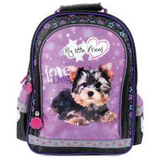 Mehrfarbig licht Rucksack Schulrucksack Schultasche mit Hund
