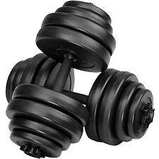 2x Set d'haltères courts revêtement plastique poids barres musculation 30 kg