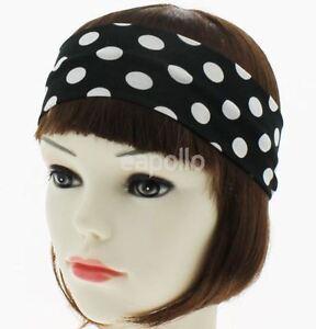 Ladies Womens Girls Black and White Polka Dot Headband Hair ... 1dc473a176