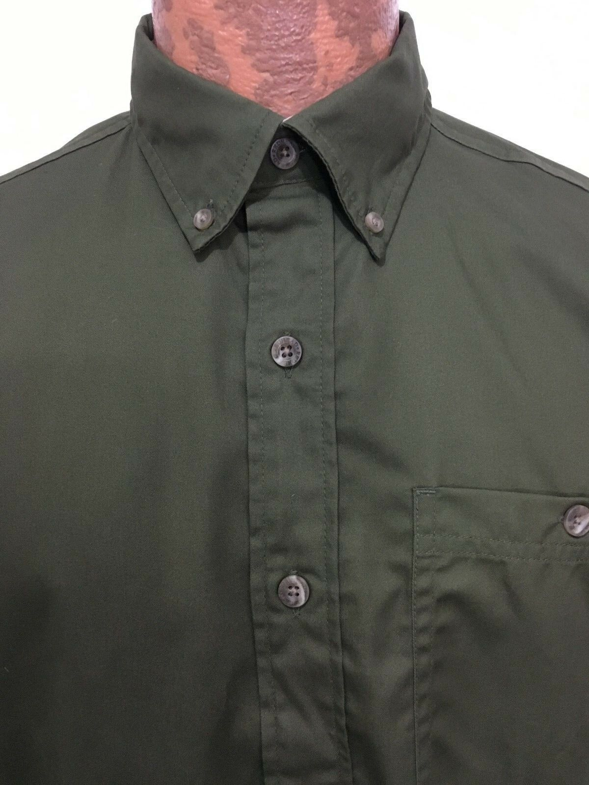 Redhead Mens S Olive Green Short-Sleeve Cotton Button-Down Shirt