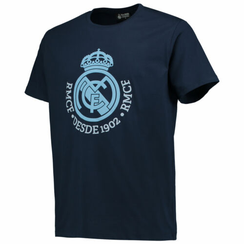 Real Madrid Tonal Crest T Shirt Tee Top Navy Football Junior Kids