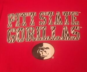 NCAA-PITT-STATE-GORILLAS-MEDIUM-RED-W-ZEBRA-LETTERING-GRAPHIC-T-SHIRT-SHIPS-FREE