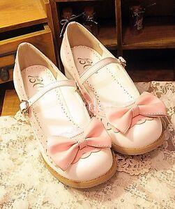 Japan-Lolita-Women-Bow-Round-toe-Girls-Cosplay-Mary-Jane-Low-Block-Heels-Shoes