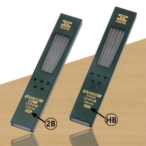 2mm 2B HB Black 2.0mm Mechanical Pencil Lead Refill 120mm 2 Boxes 20PCs Leads
