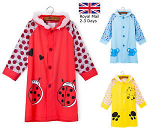 new lifestyle discount price best sell Details about Boys Girls Kids Raincoat 3-10 years PVC Hooded Red Yellow  Blue Quality Rain Coat