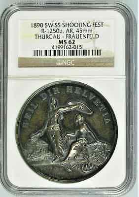 Swiss 1890 Silver Shooting Medal Thurgau Frauenfeld R-1250b Helvetia NGC MS62