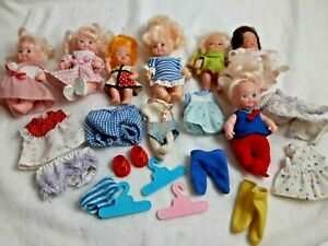 Vintage-Lot-of-Miniature-Baby-Dolls-Shoes-Hangers-and-Clothes-4-034-Sold-As-Is