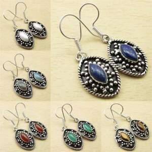 925 Sterling Silver Plated Earring IJ - 12 Gemstone Ethnic Earring Jewelry Natural Lapis Lazuli