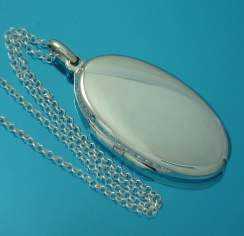 925 Sterling Silver Large Plain Oval Locket Pendant Chain Necklace Jewellery