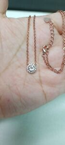 Natural Light Pink Morganite & CZ Pendant Sterling Silver 925 Necklace 19""
