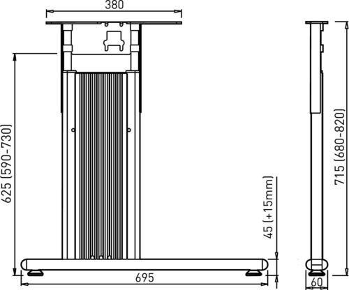Häfele Tischgestell höhen-verstellbar CAMO Schreibtisch-Gestell System Stahl