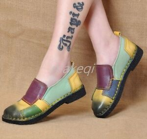New-Folk-Womens-Match-Color-Leather-Slip-On-Loafers-Shoes-Pumps-College-British