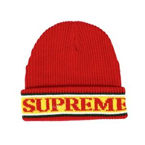 fa5ad5f1a1429 NWT Supreme NY Red White Green Yellow Cuff Logo Stripe Beanie Hat ...