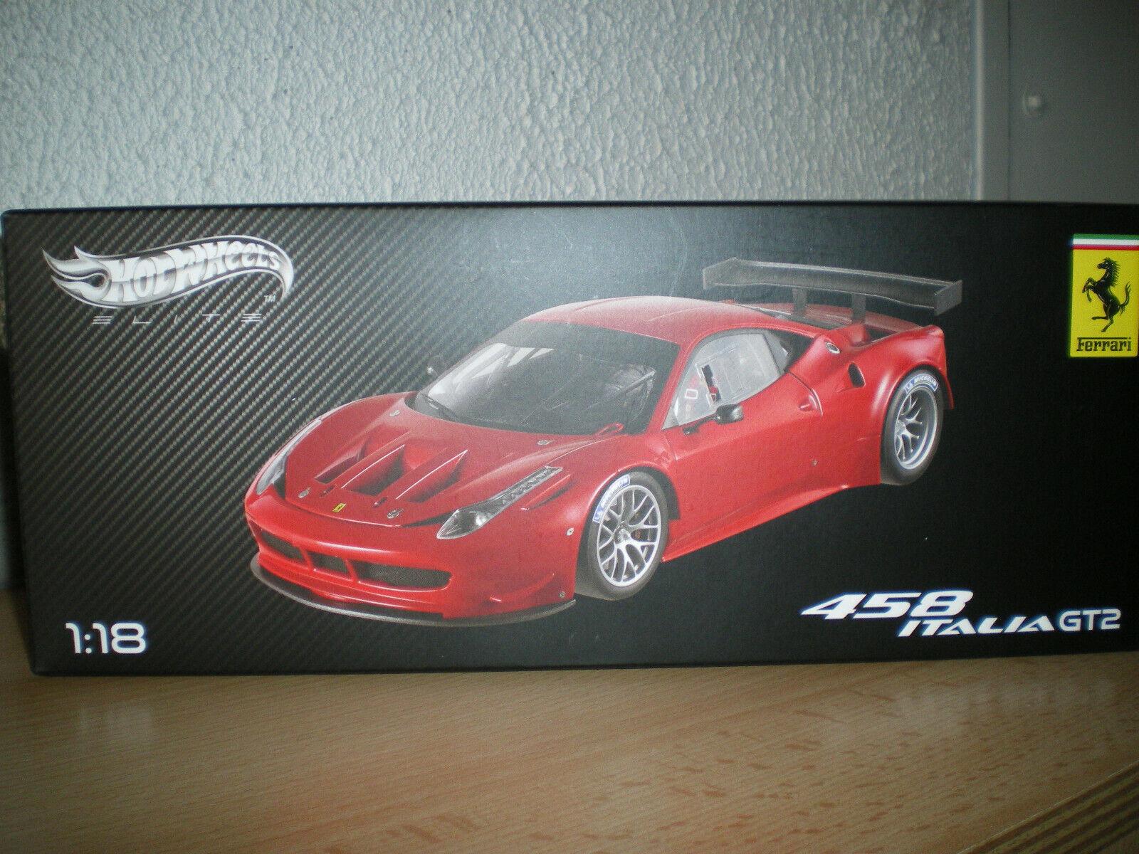 Ferrari 458 italia  gt2 1 18 elite mattel x5491 rouge