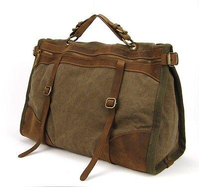 Men's Vintage Leather Canvas bag Messenger Shoulder Retro Travel Gym Bag Duffle