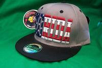 Florida Stars Stripes Gray Flat Rimmed Snapback Sports Cap Hat Piranha Records
