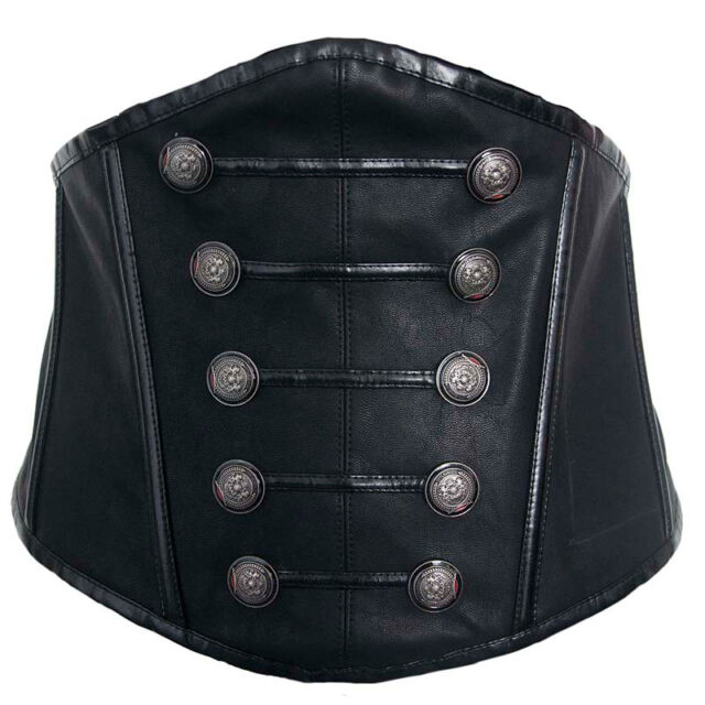 Black Brocade&Leather Side Zipper Steampunk Underbust Corsets Retro Bustiers
