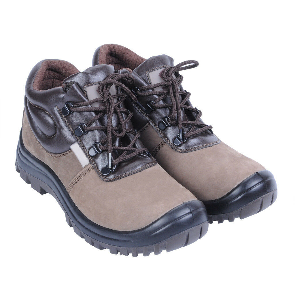 ASG Men Safety Shoes Work Trainers Steel Toe Cap Oil Resistant Ankle Boots Brown