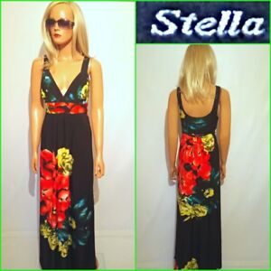 NEW-STELLA-UK10-12-SLEEVELESS-MAXI-BLACK-FLORAL-PRINT-STRETCH-DRESS-B4441