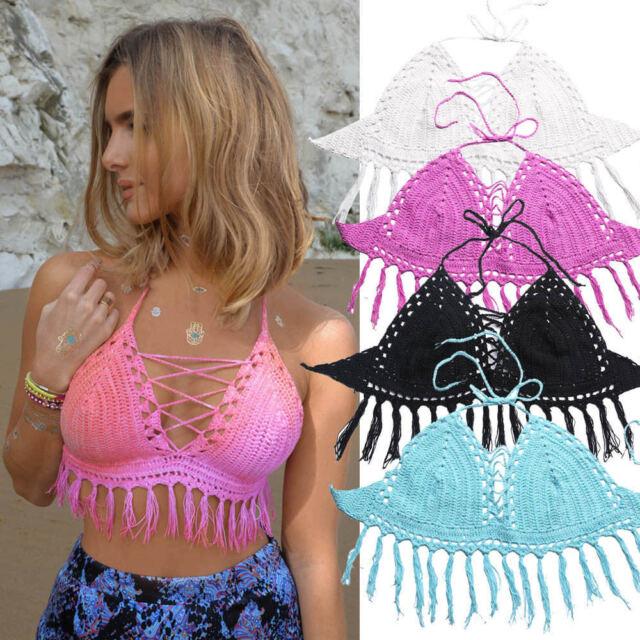 Women Boho Beachwear Tassle Crochet Vest Bralet Sexy Bra Crop Bustier Cami Top