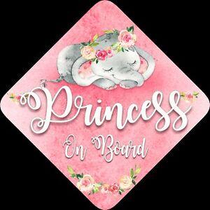 No-Personalizado-De-Nino-Bebe-A-Bordo-Coche-Firmar-Elefante-para-dormir-princesa