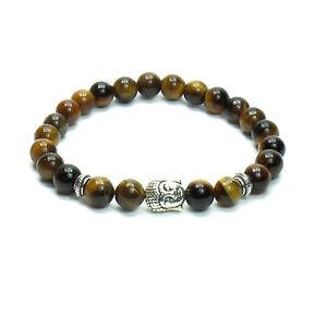 Bracciale-Uomo-Pietre-Dure-Occhio-Tigre-Buddha-Tibetano-Donna-Elastico-Budda