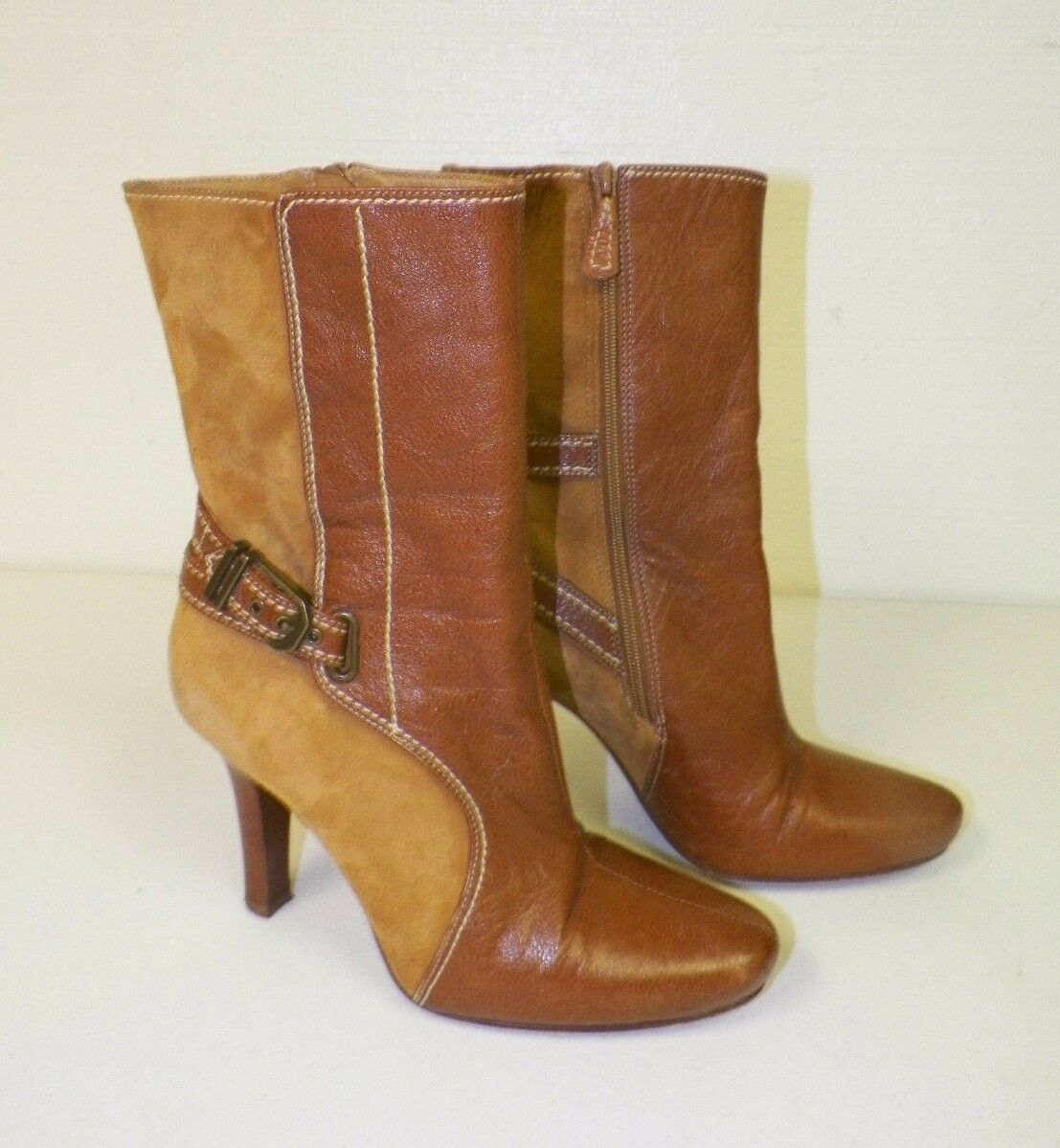 Damenschuhe'S COLE HAAN BROWN LEATHER FASHION ANKLE BOOTS SZ 5 1/2 GOOD USED COND