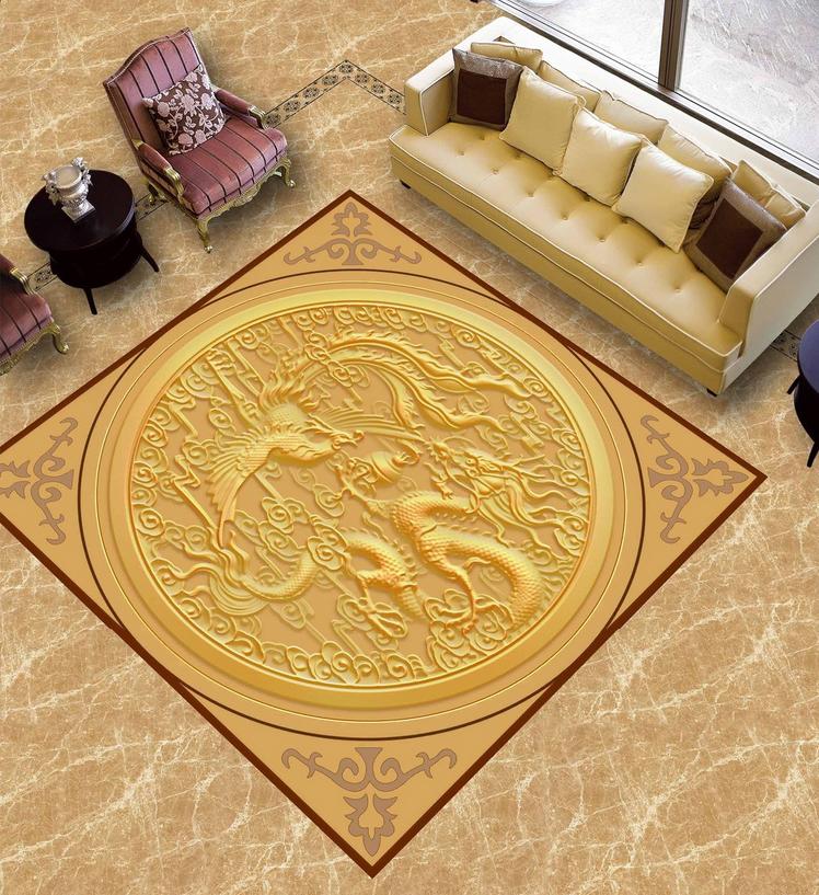 3D Dragon Phoenix 914 Floor WallPaper Murals Wall Print 5D AJ WALLPAPER UK Lemon