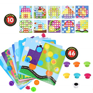 Urio color Match Button Art Puzzle Set For 2 year Old Creative Toy,10 Pieces And