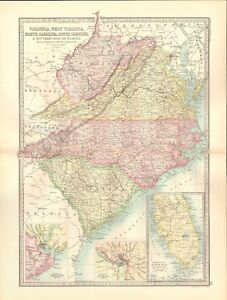 South Virginia Map.1890 Antique Map Usa Virginia West Virginia North South
