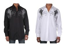 Men's Western Cotton Embroidered Casual Shirt #42 Black White & Red