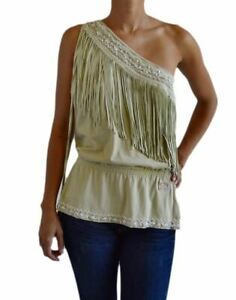 NWT-DOLCE-amp-GABBANA-WOMEN-039-S-ONE-SHOULDER-BLOUSE-AUTHENTIC-WOMEN-039-S-FRINGE-SIZE-40