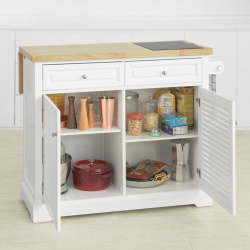SoBuy Extendable Kitchen Island Trolley with Rubber Wood/&Marble Top FKW84-WN,UK