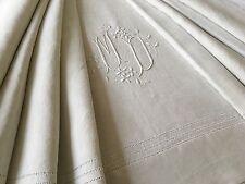 Drap ancien 320 x 230 cm fil lin Monogramme M-D  brodé main 1384/115-1
